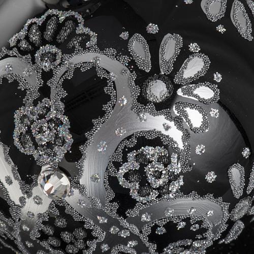 Boule de Noel verre noir peint à la main argent 10 cm 6