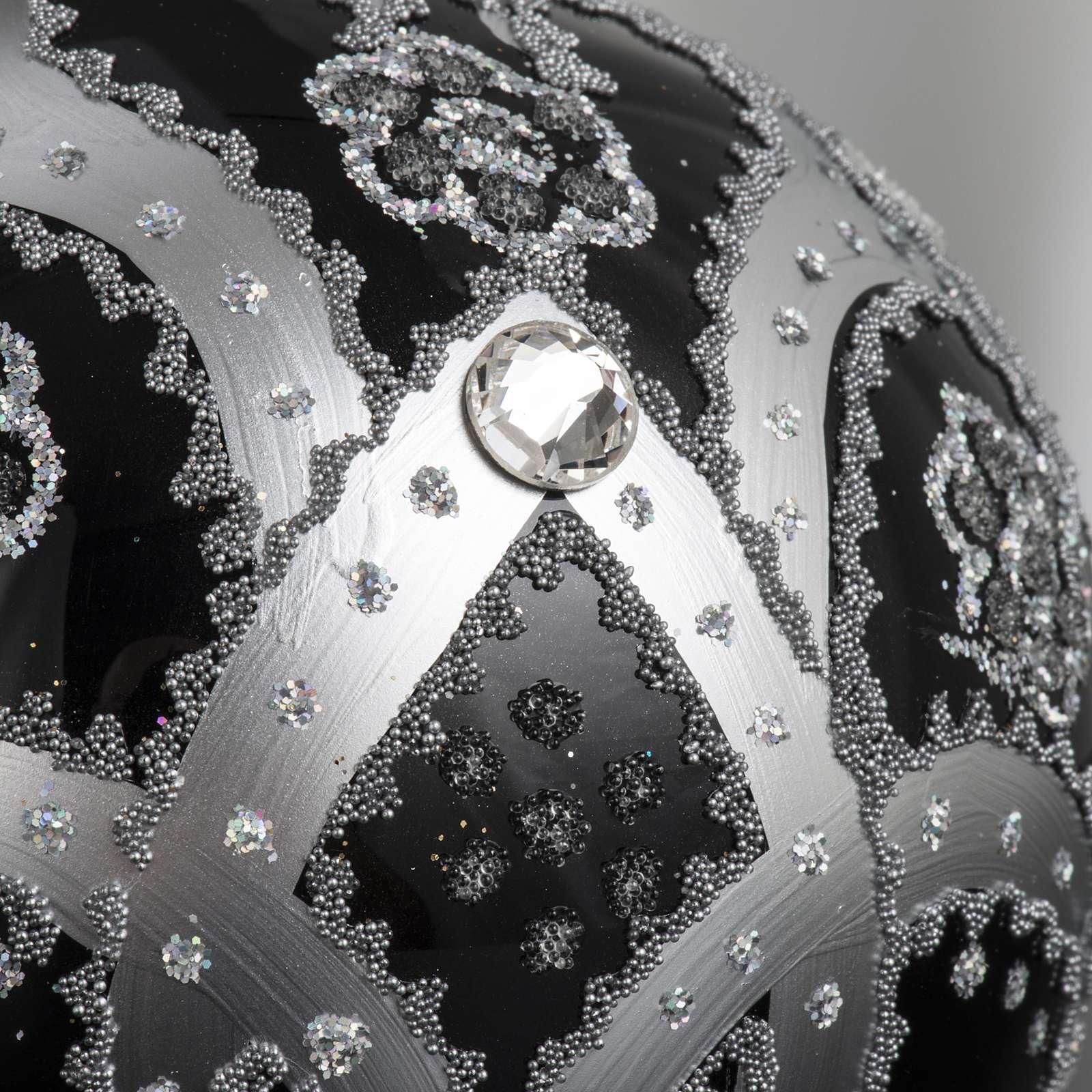 Addobbo albero vetro nero argento 10 cm 4