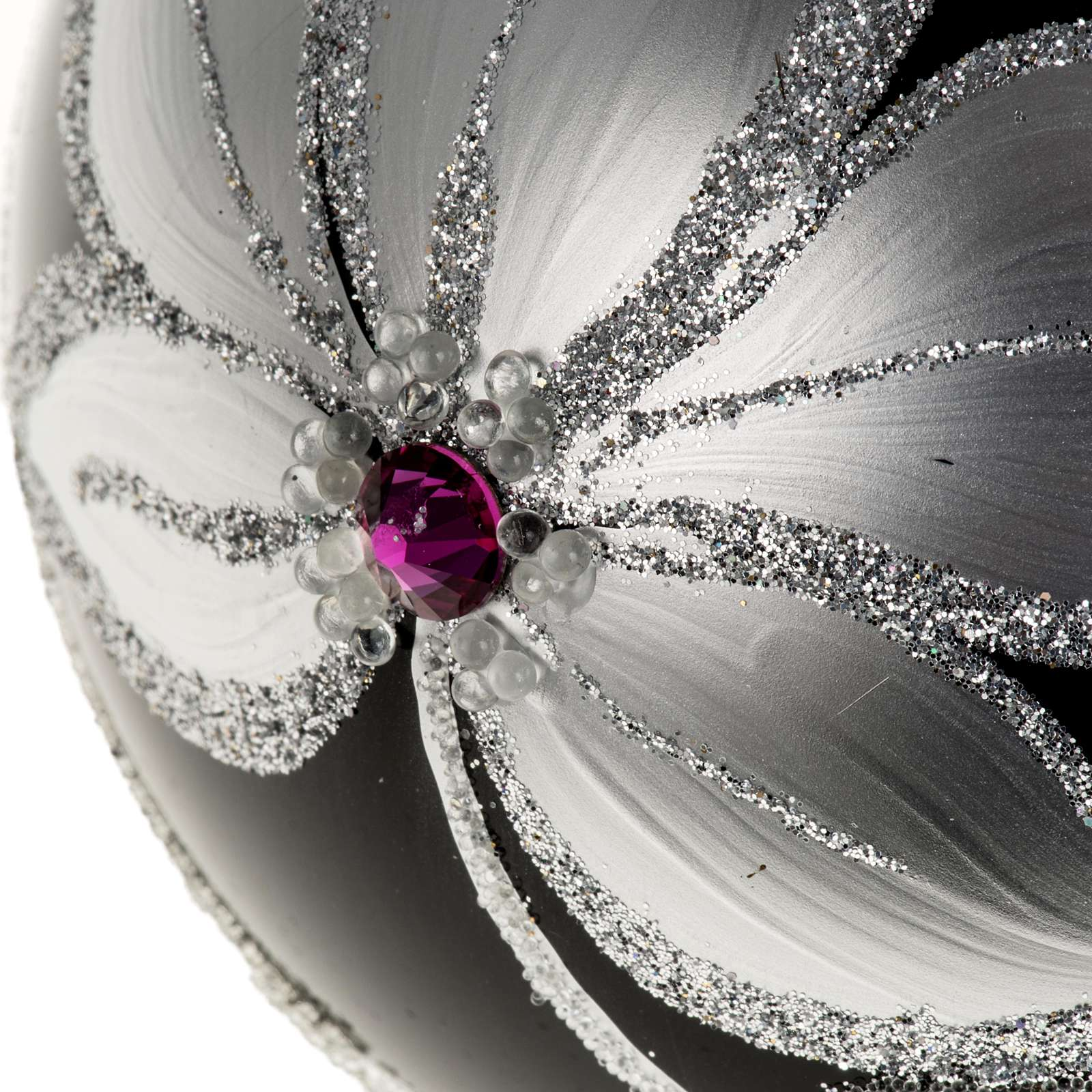 Christmas tree bauble glass black and silver, 10cm 4