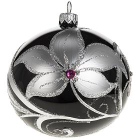 Christmas tree bauble glass black and silver, 10cm s1