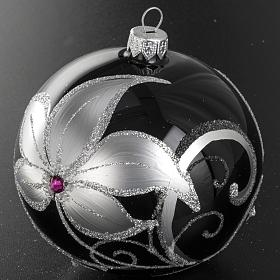 Christmas tree bauble glass black and silver, 10cm s3