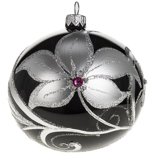 Christmas tree bauble glass black and silver, 10cm 1
