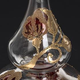 Adorno navidad en forma punta, vidrio transparente rojo-dorado s4