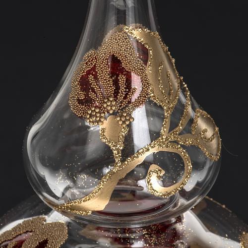 Adorno navidad en forma punta, vidrio transparente rojo-dorado 4
