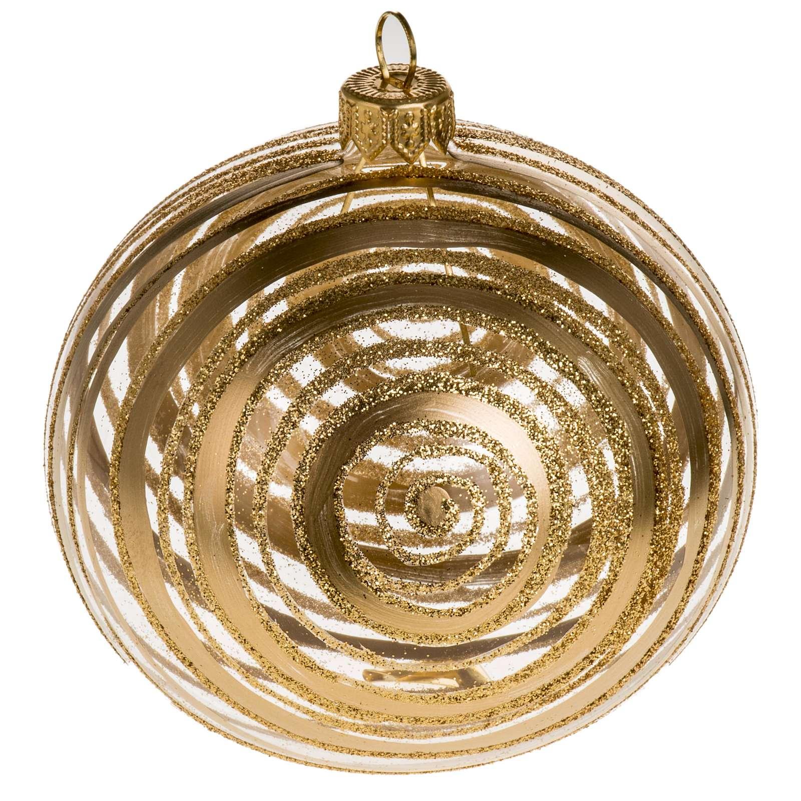 Addobbo albero vetro soffiato oro trasparente 10 cm 4