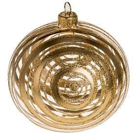 Addobbo albero vetro soffiato oro trasparente 10 cm s1