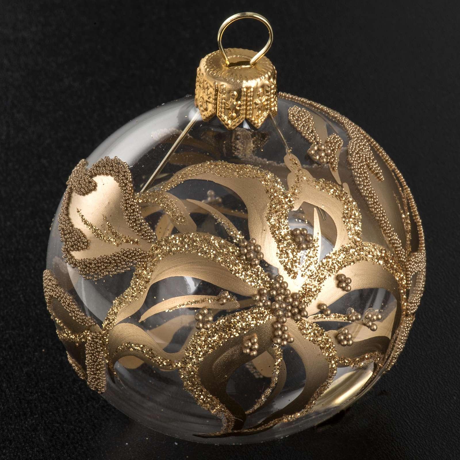 Addobbo albero oro trasparente vetro soffiato diam 6 cm 4