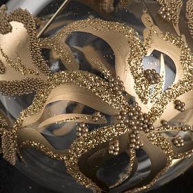Addobbo albero oro trasparente vetro soffiato diam 6 cm s3