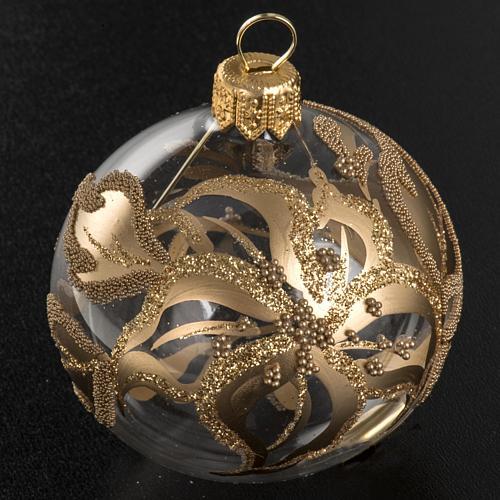 Addobbo albero oro trasparente vetro soffiato diam 6 cm 2