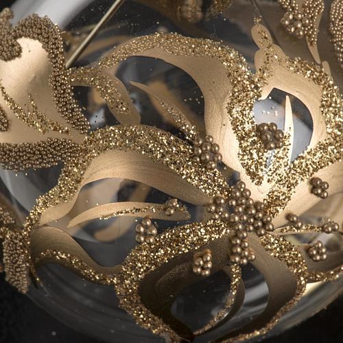 Addobbo albero oro trasparente vetro soffiato diam 6 cm 3