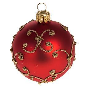 Addobbo albero vetro rosso decori oro 6 cm s1