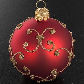 Addobbo albero vetro rosso decori oro 6 cm s2