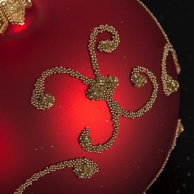 Addobbo albero vetro rosso decori oro 6 cm s3