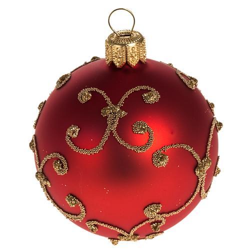 Addobbo albero vetro rosso decori oro 6 cm 1
