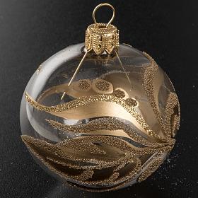 Adorno árbol vidrio transparente decoraciones doradas 6 c s2