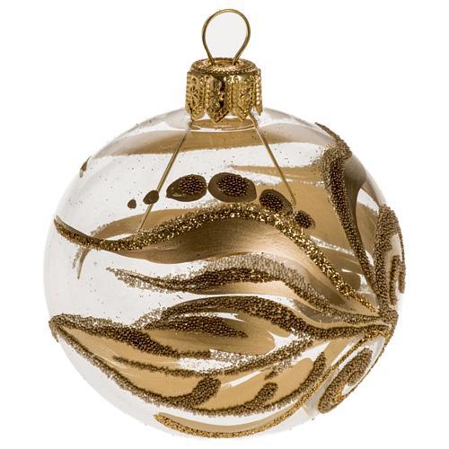Adorno árbol vidrio transparente decoraciones doradas 6 c 1