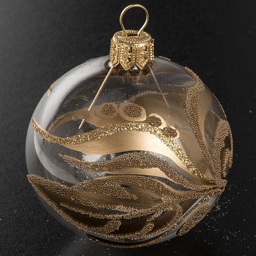 Adorno árbol vidrio transparente decoraciones doradas 6 c 2