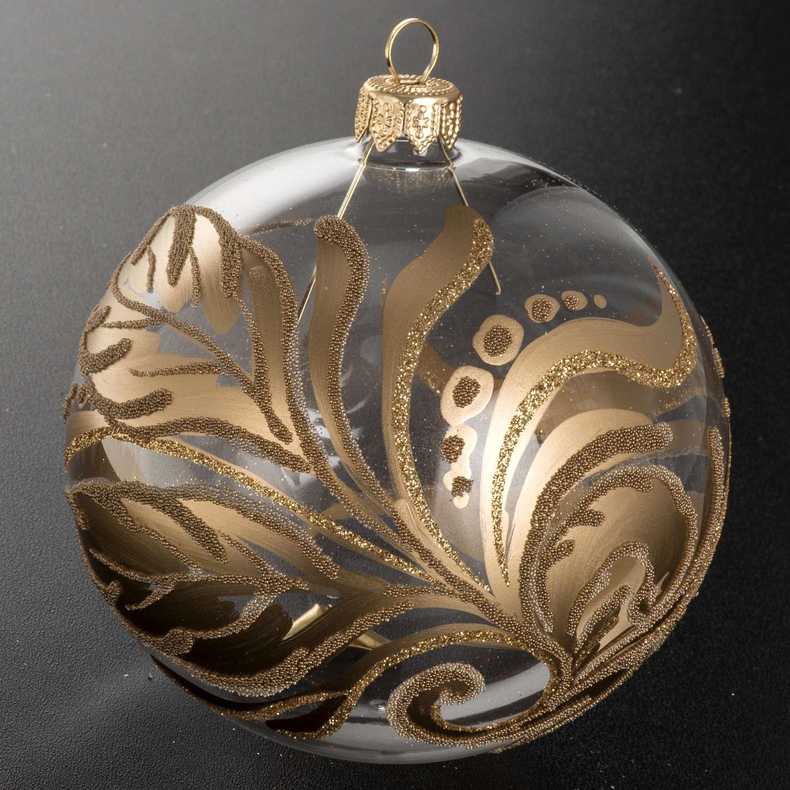 Christmas tree bauble, transparent glass golden decorations 10cm 4