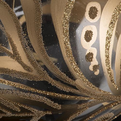 Christmas tree bauble, transparent glass golden decorations 10cm 3