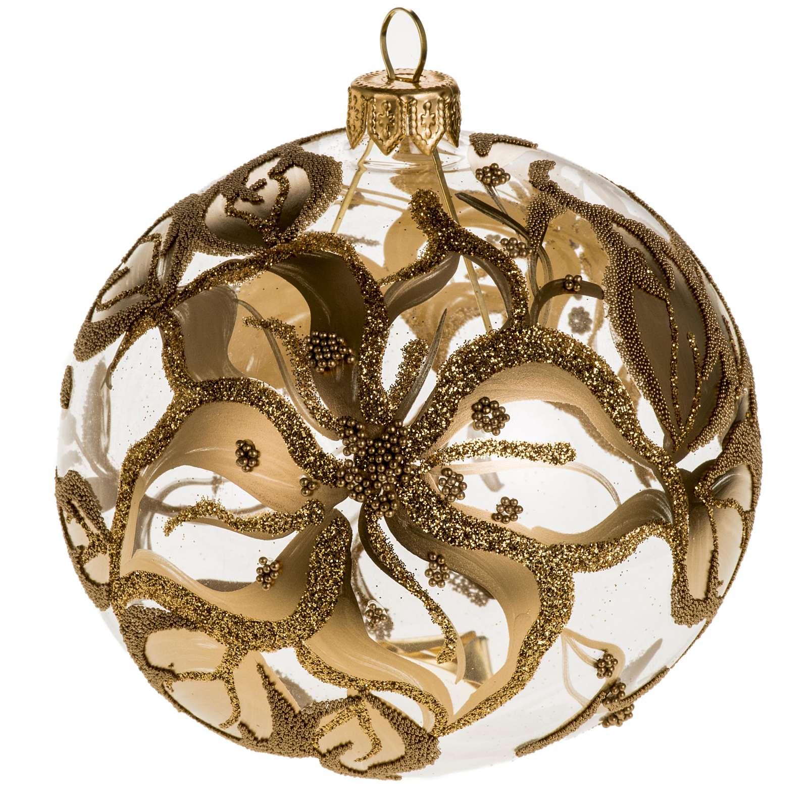 Addobbo albero vetro soffiato oro decori 10 cm 4