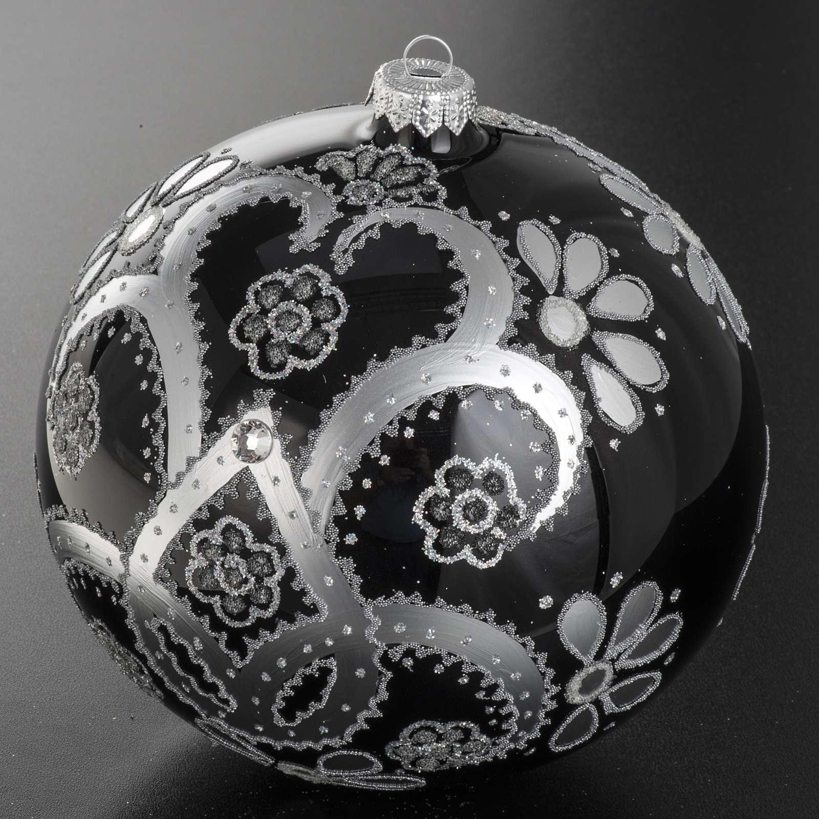 Addobbo albero vetro soffiato nero argento 15 cm 4