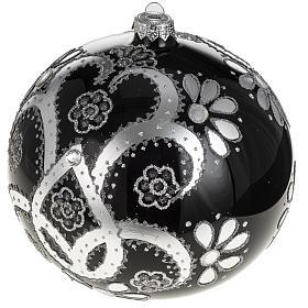 Addobbo albero vetro soffiato nero argento 15 cm s1