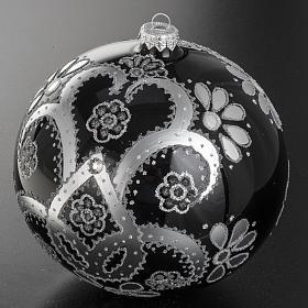 Addobbo albero vetro soffiato nero argento 15 cm s2