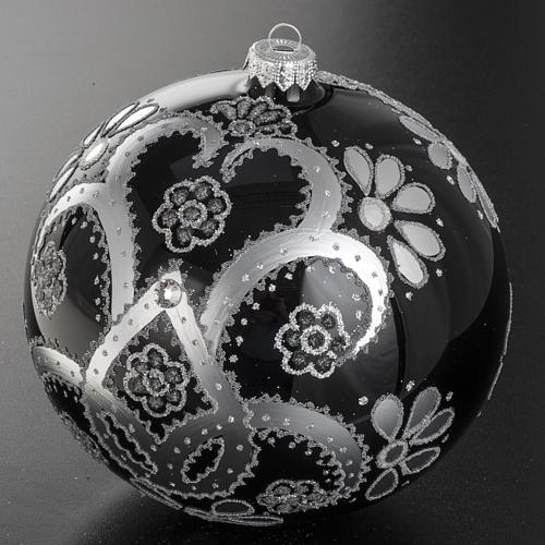 Addobbo albero vetro soffiato nero argento 15 cm 2