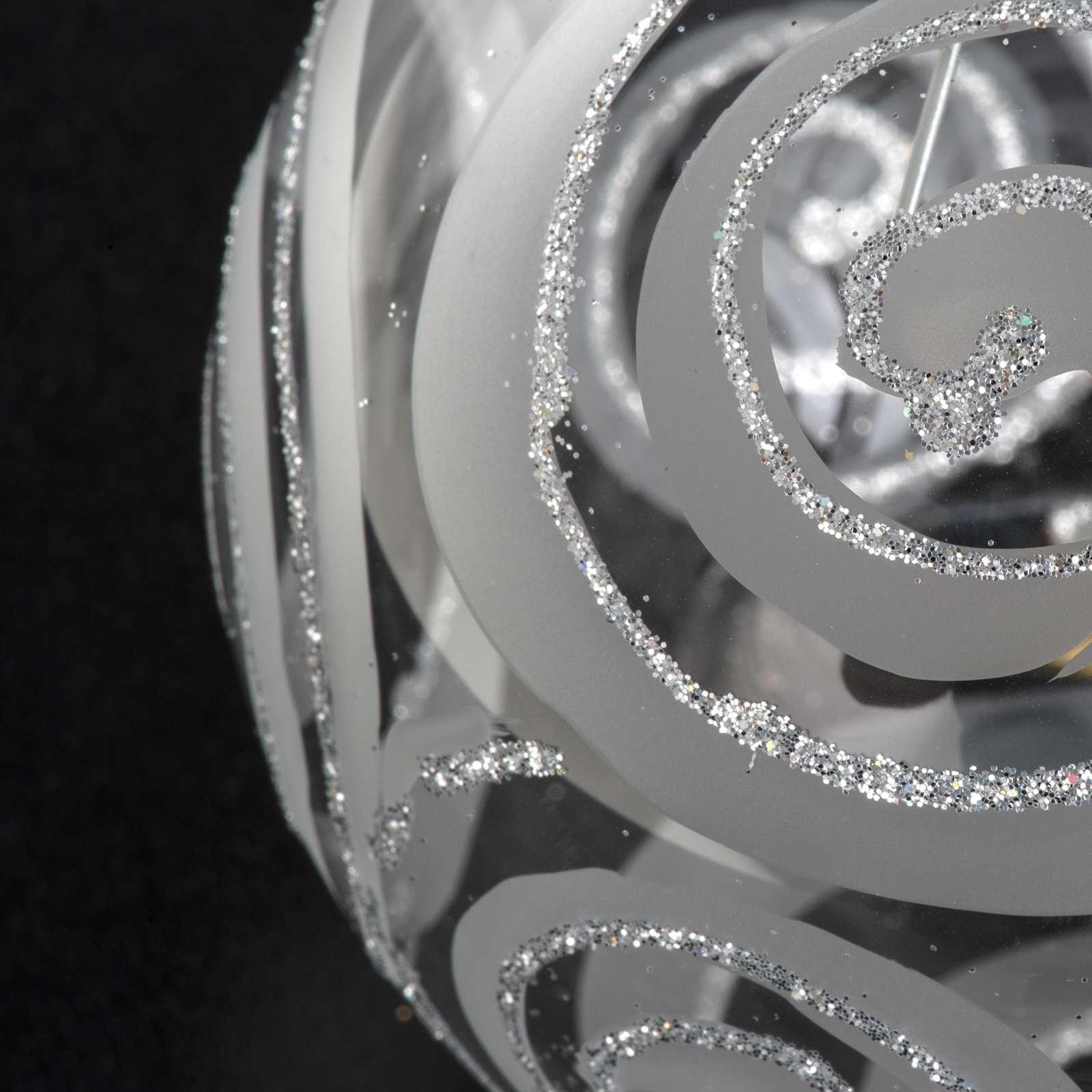 Décoration sapin verre transparent argenté 8cm 4