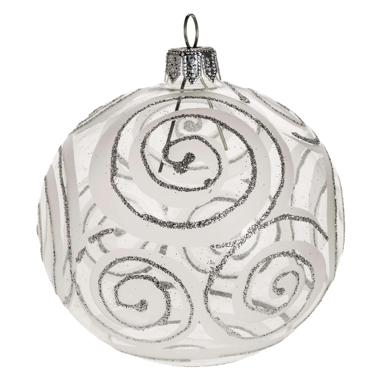 Addobbo albero vetro trasparente argento decori 8 cm 4