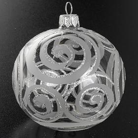 Addobbo albero vetro trasparente argento decori 8 cm s2