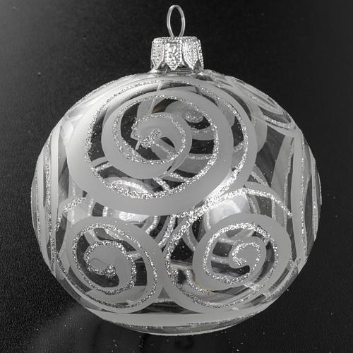 Addobbo albero vetro trasparente argento decori 8 cm 2