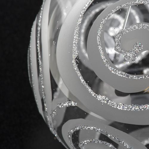 Addobbo albero vetro trasparente argento decori 8 cm 3