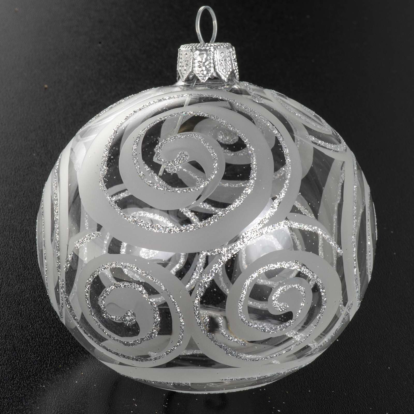 Christmas tree bauble, blown glass silver decorations 8cm 4