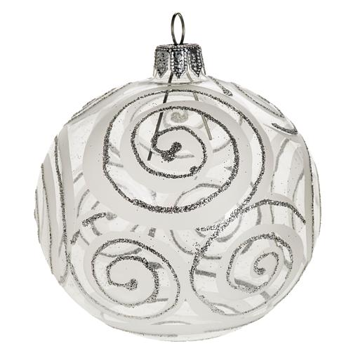 Christmas tree bauble, blown glass silver decorations 8cm 1