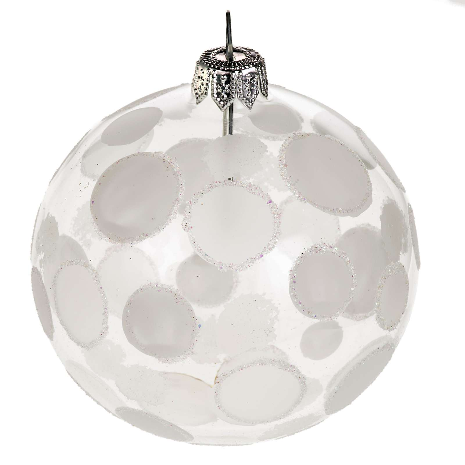 Addobbo albero vetro soffiato trasparente bianco 8 cm 4
