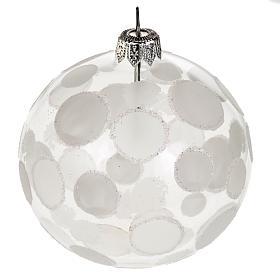 Addobbo albero vetro soffiato trasparente bianco 8 cm s1