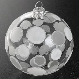 Addobbo albero vetro soffiato trasparente bianco 8 cm s2