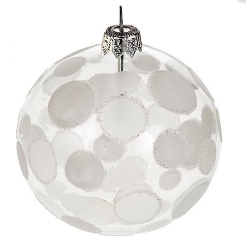 Addobbo albero vetro soffiato trasparente bianco 8 cm 1