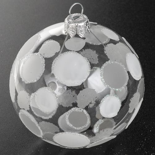 Addobbo albero vetro soffiato trasparente bianco 8 cm 2