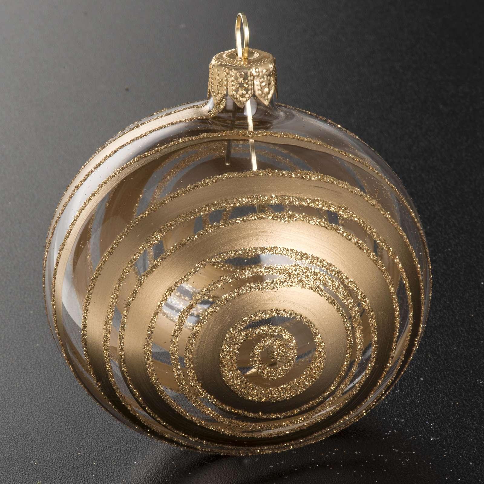 Addobbo albero vetro soffiato decori oro 8 cm 4