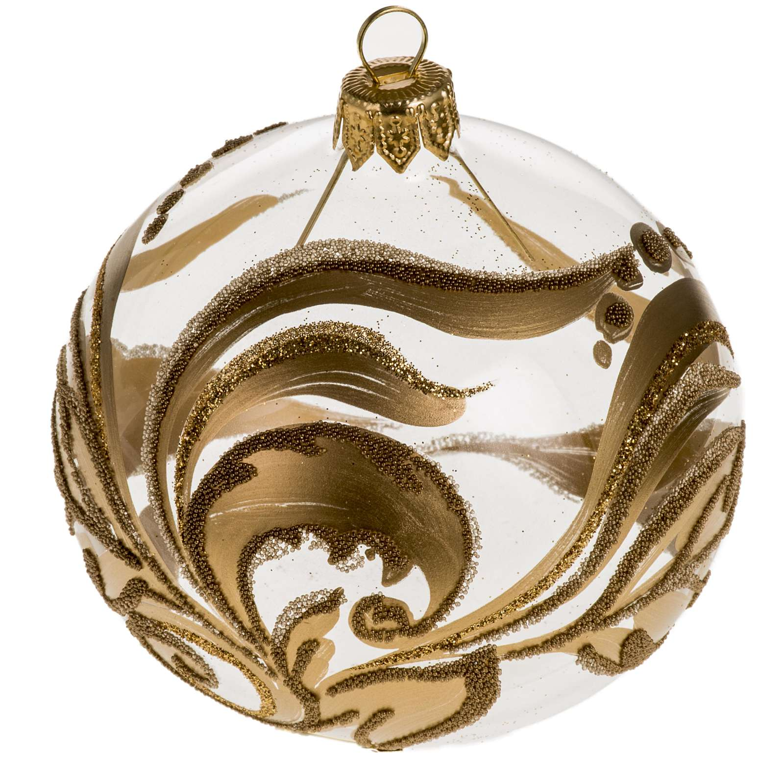 Addobbo albero vetro dipinto decori oro 8 cm 4