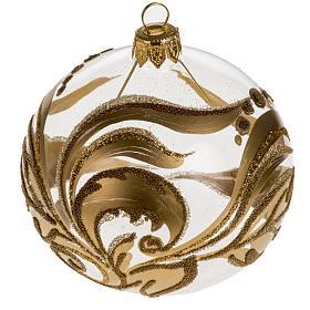 Addobbo albero vetro dipinto decori oro 8 cm s1