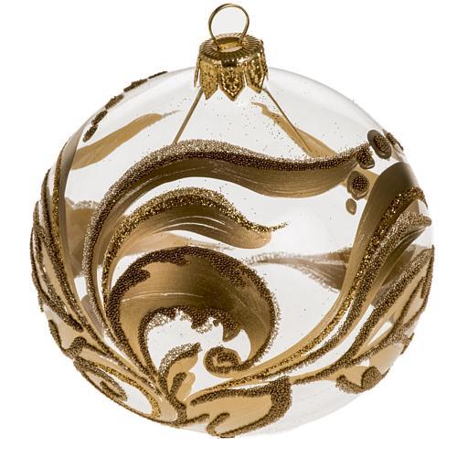 Addobbo albero vetro dipinto decori oro 8 cm 1