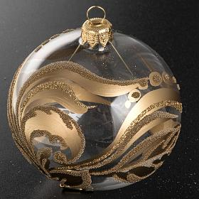 Christmas tree bauble, painted blown glass gold decorations 8cm s2