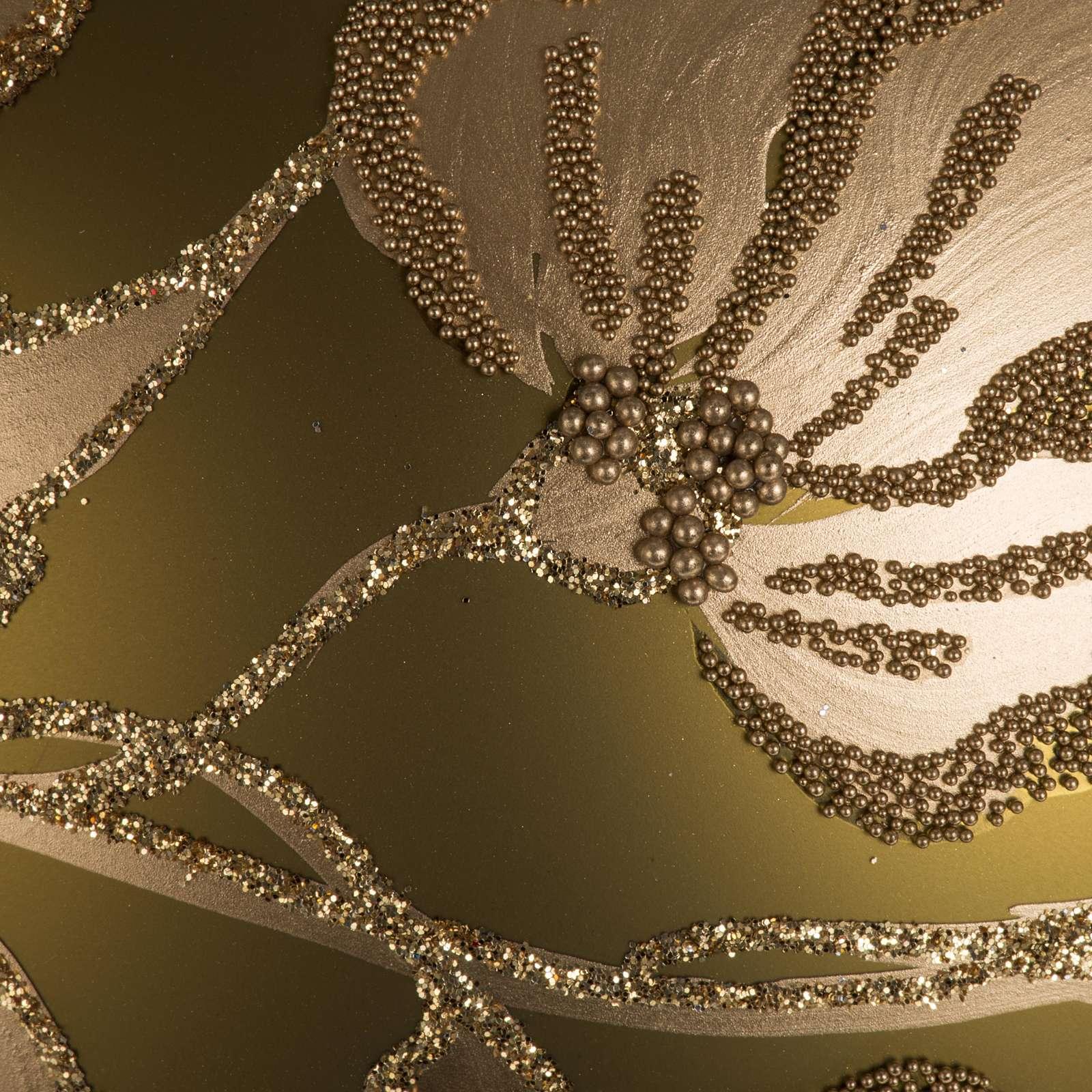 Addobbo albero vetro dorato dipinto 15 cm 4