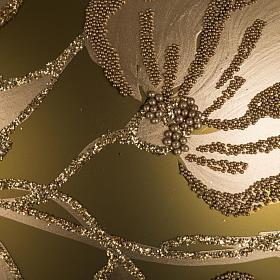 Addobbo albero vetro dorato dipinto 15 cm s2