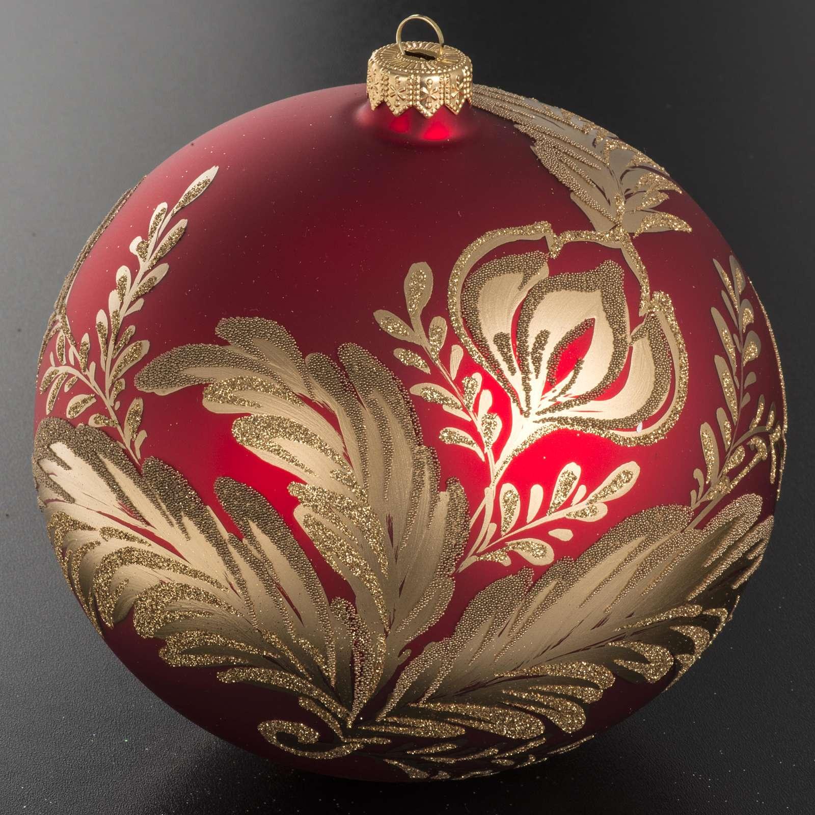 Addobbo albero vetro rosso oro 15 cm 4