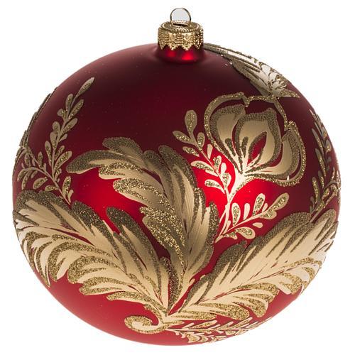 Addobbo albero vetro rosso oro 15 cm 1