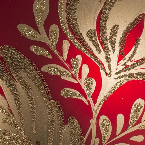 Addobbo albero vetro rosso oro 15 cm 2